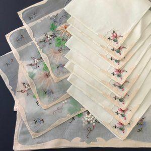 Set of Vintage 1940s Silk Organza Placemats Napkin